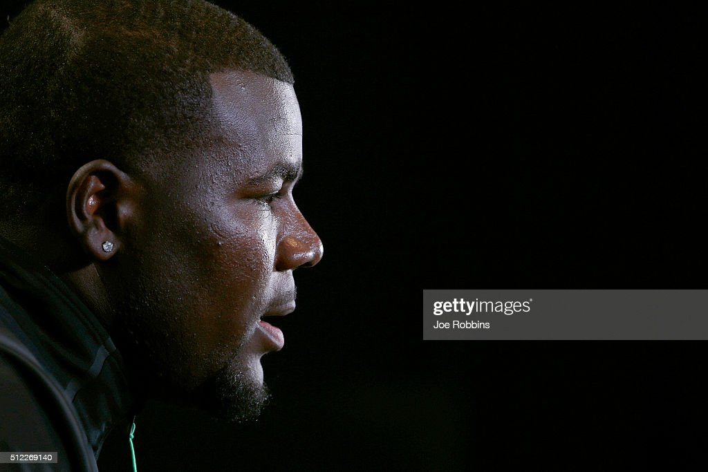 Quarterback Cardale Jones #11 of Ohio State speaks to the media during the 2016 NFL Scouting Combine at Lucas Oil Stadium on February 25, 2016 in Indianapolis, Indiana.