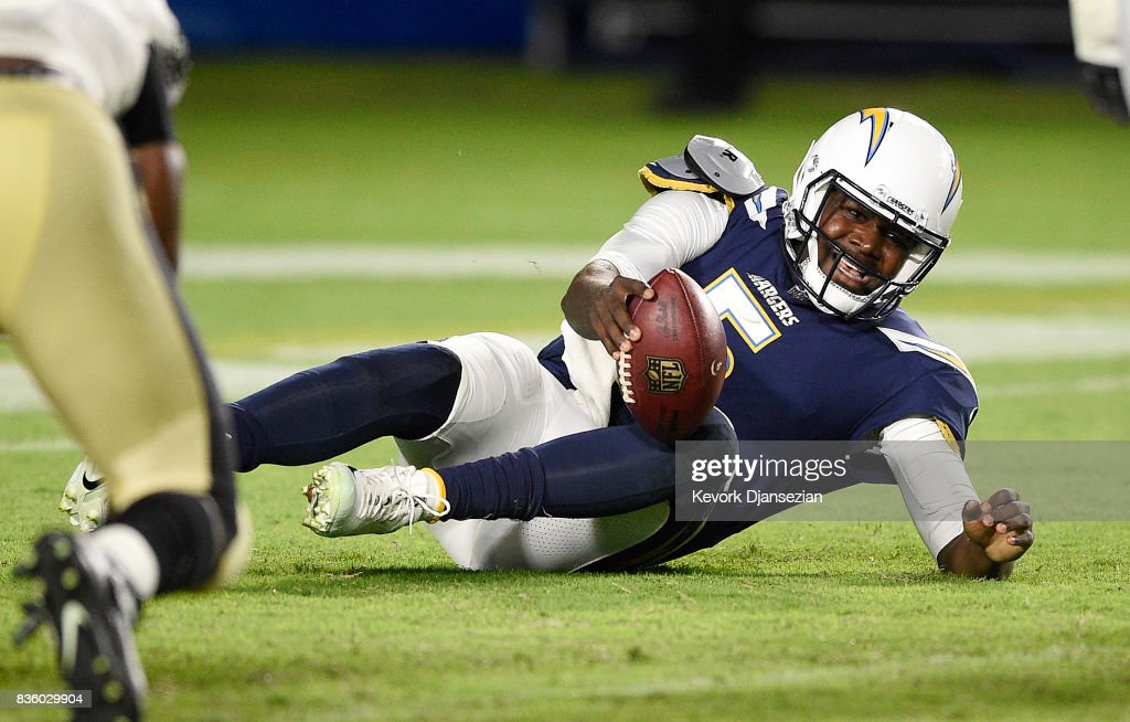 Quarterback Cardale Jones #5 of the Los Angeles Chargers reacts after a sack by New Orleans Saints during the second half of a preseason football game against the New Orleans Saints at the StubHub Center August 20, 2017, in Carson, California.