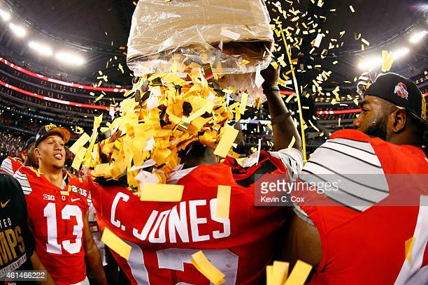 Quarterback Cardale Jones of the Ohio State Buckeyes celebrates after defeating the Oregon Ducks 42 to 20 in the College Football Playoff National...