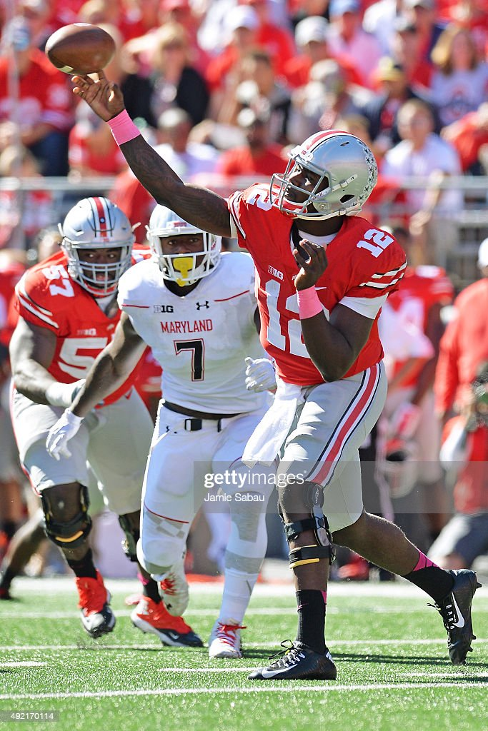 Quarterback Cardale Jones #12 of the Ohio State Buckeyes completes a pass in the third quarter against the Maryland Terrapins at Ohio Stadium on October 10, 2015 in Columbus, Ohio. Ohio State defeated Maryland 49-28.