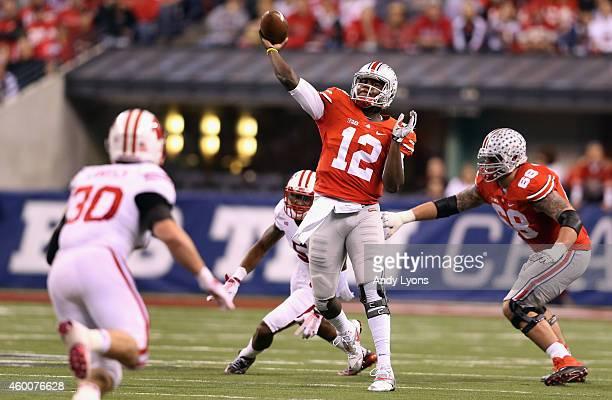Quarterback Cardale Jones of the Ohio State Buckeyes passes from the pocket during the third quarter against the Wisconsin Badgers in the Big Ten...