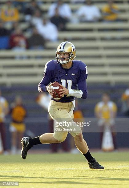 Quarterback Carl Bonnell of the Washington Huskies looks to pass during the game against the Arizona State Sun Devils on October 28 2006 at Husky...