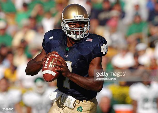 Quarterback Carlyle Holiday of Notre Dame looks for an open man during a game against Michigan State on September 20 2003 at the Notre Dame Stadium...