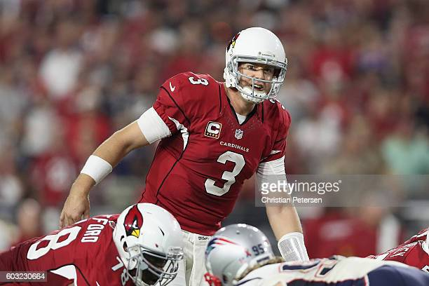 Quarterback Carson Palmer of the Arizona Cardinals during the NFL game against the New England Patriots at the University of Phoenix Stadium on...