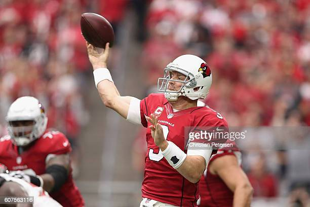 Quarterback Carson Palmer of the Arizona Cardinals throws a pass during the first quarter of the NFL game against the Tampa Bay Buccaneers at the...
