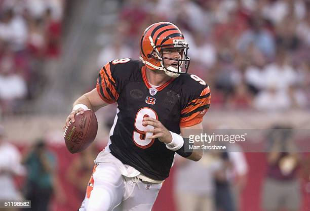 Quarterback Carson Palmer of the Cincinnati Bengals drops back to pass against the Tampa Bay Buccaneers during the game at Raymond James Stadium on...