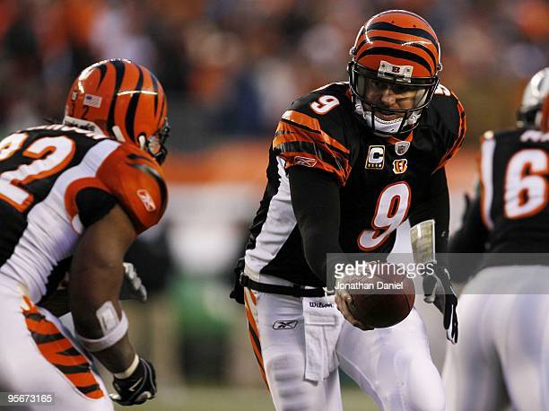 Quarterback Carson Palmer of the Cincinnati Bengals hands the ball off to running back Cedric Benson in the first half against the New York Jets...