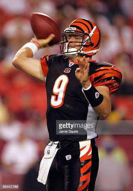 Quarterback Carson Palmer of the Cincinnati Bengals passes against the Washington Redskins during the first half of their preseason game on August 19...