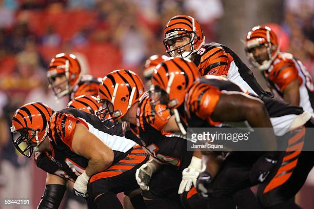 Quarterback Carson Palmer of the Cincinnati Bengals prepares to take the snap against the Washington Redskins during the first half of their...