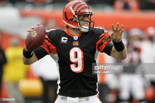 Quarterback Carson Palmer of the Cincinnati Bengals unleashes a pass during a game against the Arizona Cardinals at Paul Brown Stadium in Cincinnati...