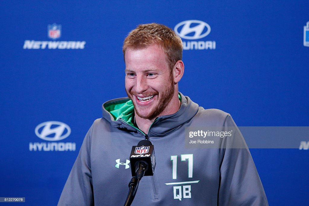 Quarterback Carson Wentz #17 of North Dakota State speaks to the media during the 2016 NFL Scouting Combine at Lucas Oil Stadium on February 25, 2016 in Indianapolis, Indiana.