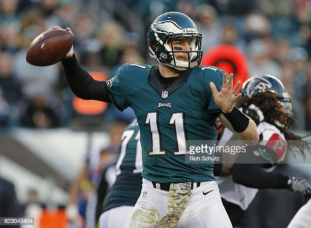 Quarterback Carson Wentz of the Philadelphia Eagles attempts a pass during the fourth quarter against the Atlanta Falcons during a game at Lincoln...