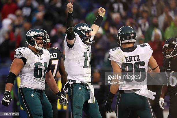 Quarterback Carson Wentz of the Philadelphia Eagles celebrates after scoring a fourth quarter touchdown against the Baltimore Ravens at MT Bank...