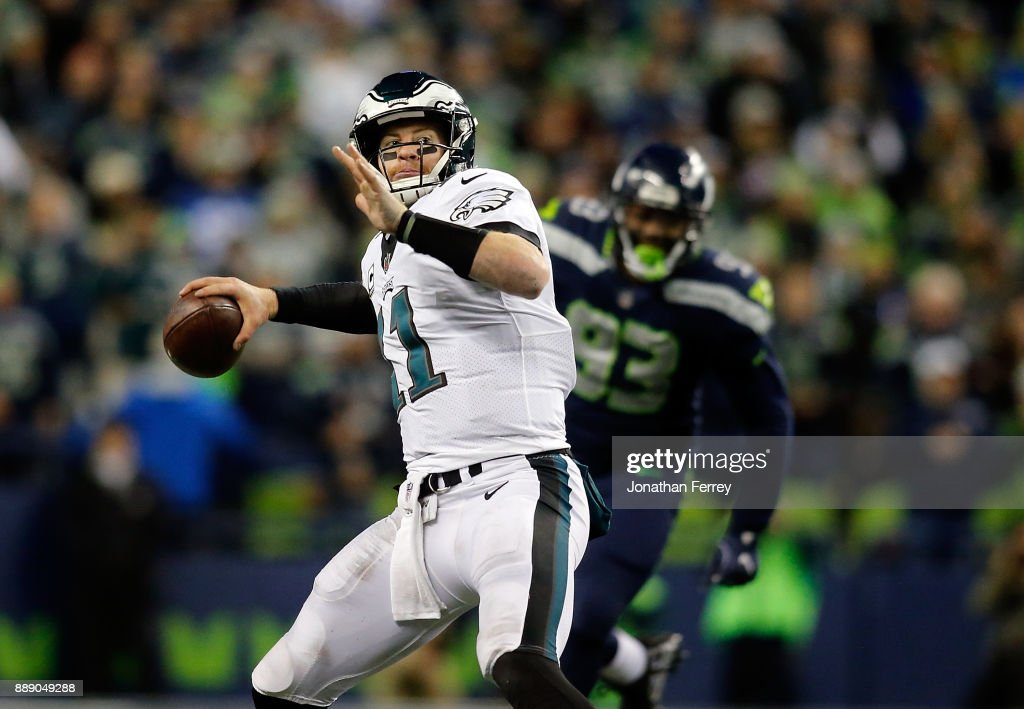 Quarterback Carson Wentz #11 of the Philadelphia Eagles in action against the Seattle Seahawks at CenturyLink Field on December 3, 2017 in Seattle, Washington.