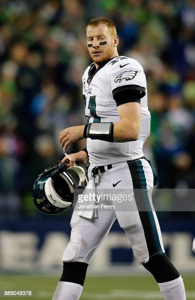 Quarterback Carson Wentz of the Philadelphia Eagles in action against the Seattle Seahawks at CenturyLink Field on December 3 2017 in Seattle...