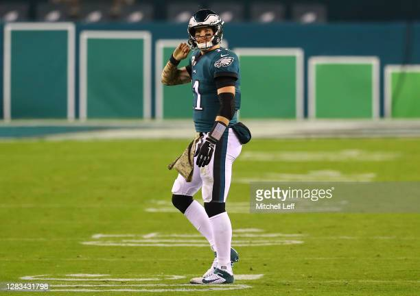 Quarterback Carson Wentz of the Philadelphia Eagles looks on after an incomplete pass on fourth down and one in the final minute of the second...