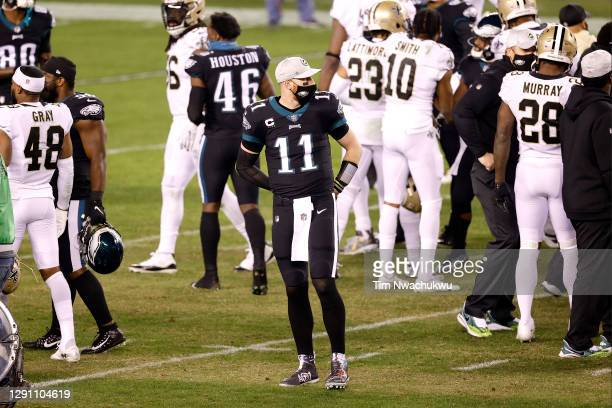 Quarterback Carson Wentz of the Philadelphia Eagles looks on following the Eagles win over the New Orleans Saints at Lincoln Financial Field on...