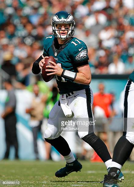 Quarterback Carson Wentz of the Philadelphia Eagles looks to pass against the Cleveland Browns during the first half at Lincoln Financial Field on...