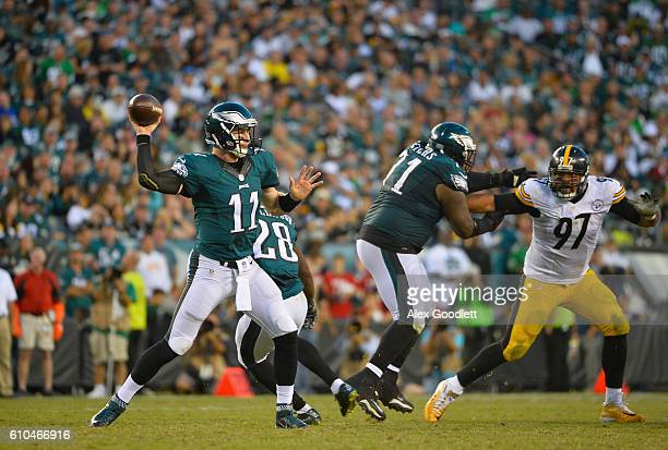 Quarterback Carson Wentz of the Philadelphia Eagles looks to pass against the Pittsburgh Steelers in the fourth quarter at Lincoln Financial Field on...
