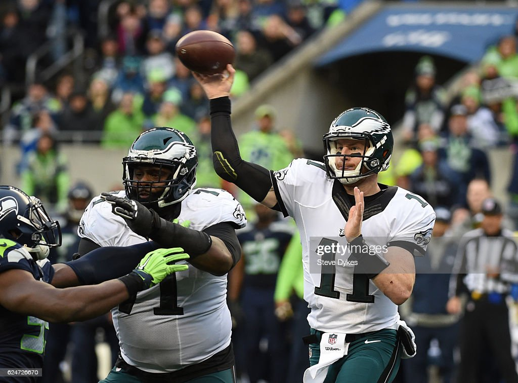 Quarterback Carson Wentz #11 of the Philadelphia Eagles passes against the Seattle Seahawks at CenturyLink Field on November 20, 2016 in Seattle, Washington.