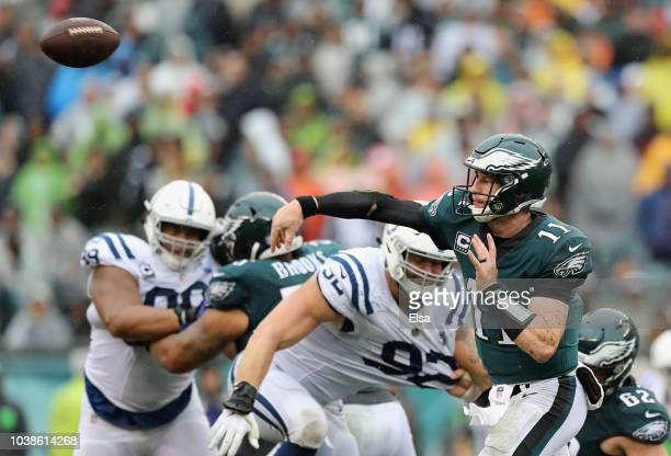 Quarterback Carson Wentz of the Philadelphia Eagles throws a pass against the Indianapolis Colts during the third quarter at Lincoln Financial Field...