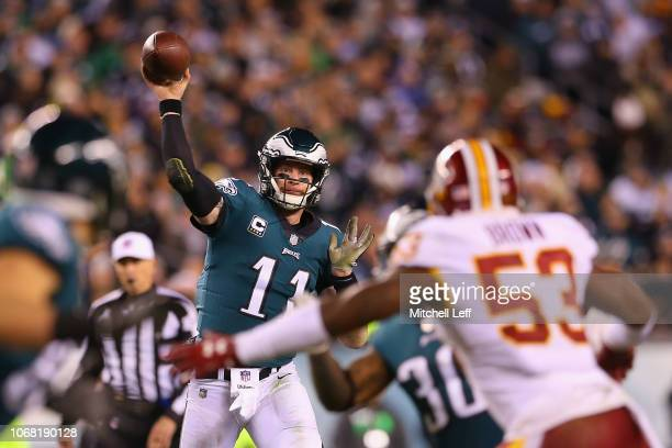 Quarterback Carson Wentz of the Philadelphia Eagles throws a pass against the Washington Redskins during the third quarter at Lincoln Financial Field...