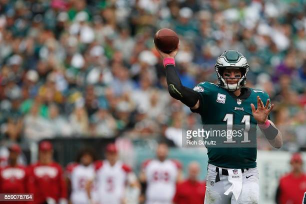 Quarterback Carson Wentz of the Philadelphia Eagles throws a pass against the Arizona Cardinals during the third quarter at Lincoln Financial Field...
