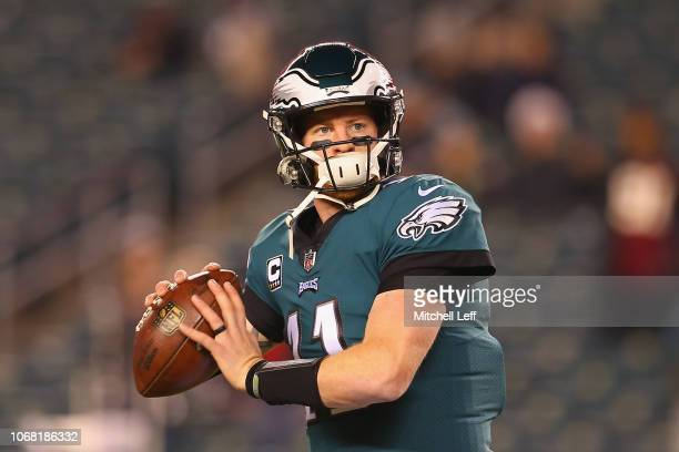 Quarterback Carson Wentz of the Philadelphia Eagles warms up before taking on the Washington Redskins at Lincoln Financial Field on December 3 2018...