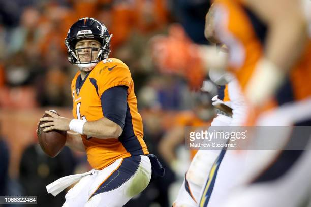 Quarterback Case Keenum of the Denver Broncos throws against the Los Angeles Chargers at Broncos Stadium at Mile High on December 30 2018 in Denver...