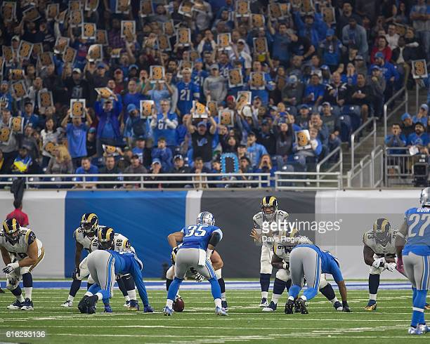 Quarterback Case Keenum of the Los Angeles Rams waits for the snap during an NFL game against the Detroit Lions at Ford Field on October 16 2016 in...