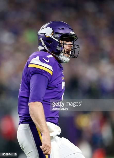 Quarterback Case Keenum of the Minnesota Vikings celebrates after a touchdown in the NFC divisional round playoff game against the New Orleans Saints...