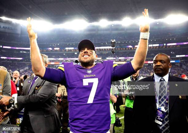 Quarterback Case Keenum of the Minnesota Vikings celebrates as he walks off the field after the Vikings defeated the New Orleans Saints 2924 to win...