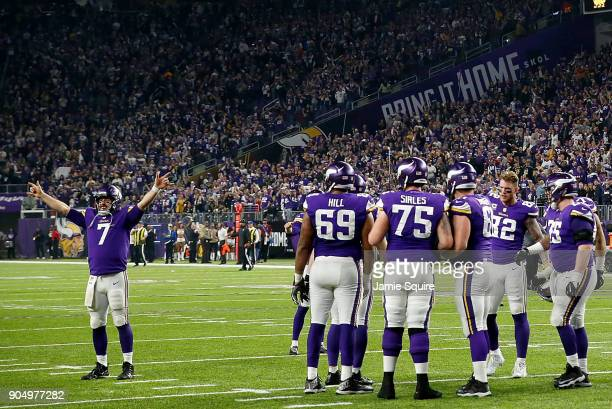 Quarterback Case Keenum of the Minnesota Vikings celebrates as the Vikings defeat the New Orleans Saints 2924 to win the NFC divisional round playoff...