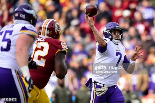 Quarterback Case Keenum of the Minnesota Vikings drops back to pass during the third quarter against the Washington Redskins at FedExField on...