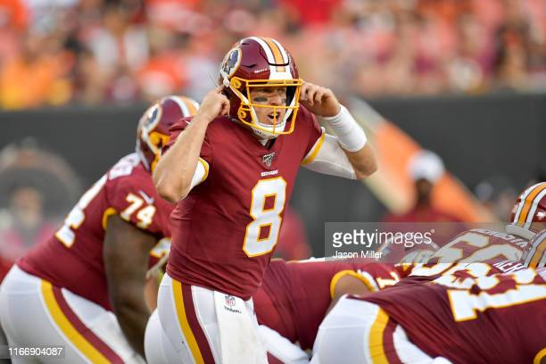 Quarterback Case Keenum of the Washington Redskins calls a play from the line of scrimmage during the first half of a preseason game against the...