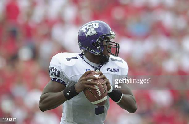 Quarterback Casey Printers of the Texas Christian University Horned Frogs looks to pass during the NCAA football game against the Nebraska...