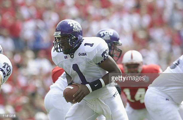 Quarterback Casey Printers of the Texas Christian University Horned Frogs drops back with the ball during the NCAA football game against the Nebraska...
