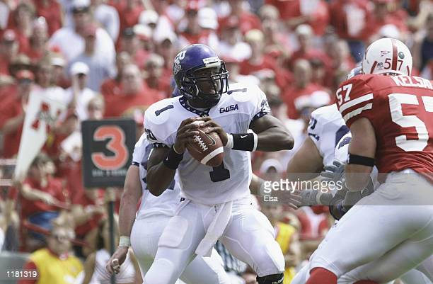 Quarterback Casey Printers of the Texas Christian University Horned Frogs drops back to pass during the NCAA football game against the Nebraska...