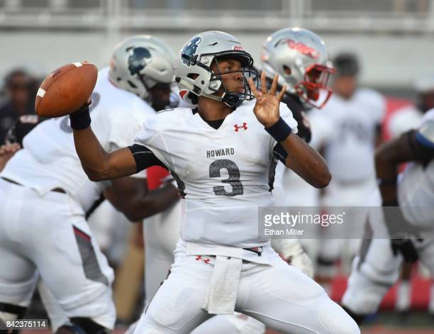 Quarterback Caylin Newton of the Howard Bison throws against the UNLV Rebels during their game at Sam Boyd Stadium on September 2 2017 in Las Vegas...