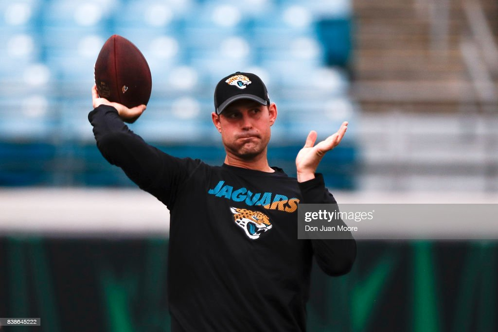 Quarterback Chad Henne #7 of the Jacksonville Jaguars warms-up before the pre-season game against the Carolina Panthers at EverBank Field on August 24, 2017 in Jacksonville, Florida.