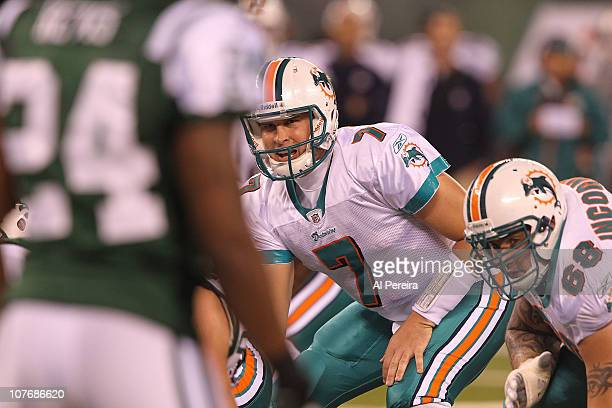 4bbee2afe Quarterback Chad Henne of the Miami DOlphins calls a play against the New  York Jets at