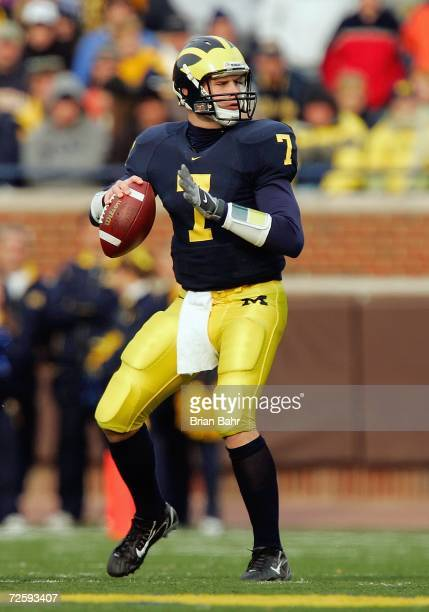 Quarterback Chad Henne of the Michigan Wolverines during the NCAA game against the Ball State Cardinals on November 4 2006 at Michigan Stadium in Ann...