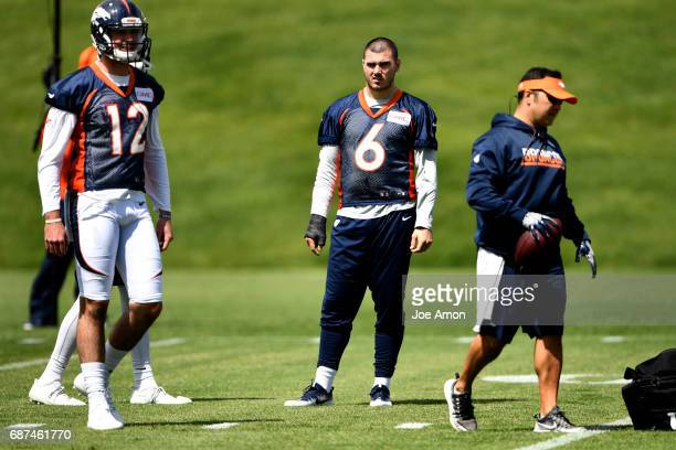 Quarterback Chad Kelly of the Denver Broncos watching warmups on the first week of OTAs at the UCHealth Training Center May 23 2017 in Englewood...