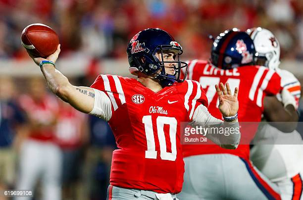 Quarterback Chad Kelly of the Mississippi Rebels throws a pass during the first half of an NCAA college football game against the Auburn Tigers on...