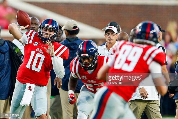Quarterback Chad Kelly of the Mississippi Rebels warms up before an NCAA college football game against the Auburn Tigers on October 29 2016 in Oxford...