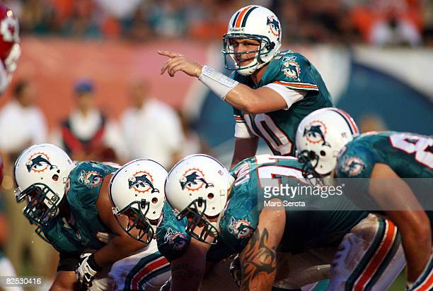 Quarterback Chad Pennington of the Miami Dolphins plays during a pre season game against the Kansas City Chiefs on August 23, 2008 at Dolphin Stadium...