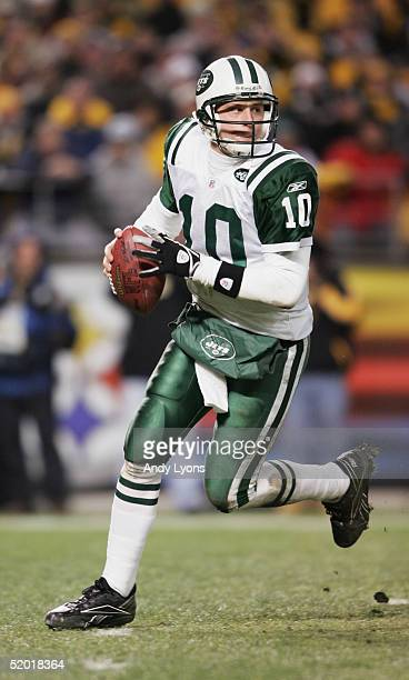 Quarterback Chad Pennington of the New York Jets drops back to pass against the Pittsburgh Steelers in an AFC divisional game at Heinz Field on...