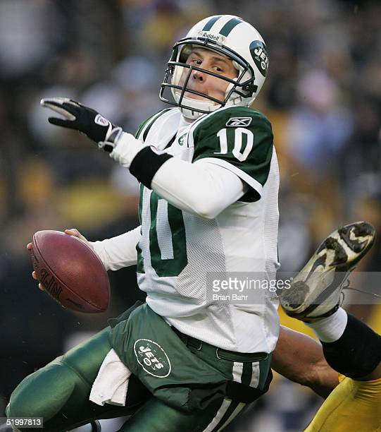 Quarterback Chad Pennington of the New York Jets is sacked by linebacker Clark Haggans of the Pittsburgh Steelers in an AFC divisional game at Heinz...