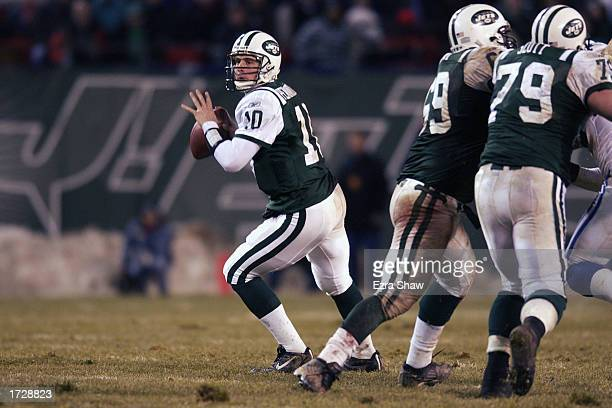 Quarterback Chad Pennington of the New York Jets looks to pass down field during the AFC Wildcard Game against the Indianapolis Colts at Giant...
