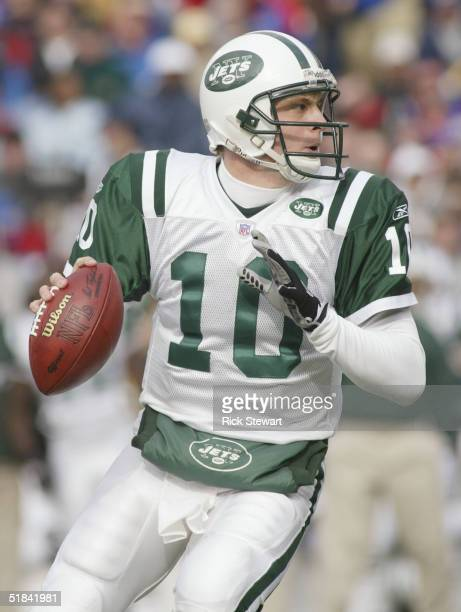 Quarterback Chad Pennington of the New York Jets looks to pass against the Buffalo Bills during the game on November 7 2004 at Ralph Wilson Stadium...